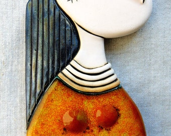 Girl with orange dress - Original Handmade Ceramic Art Tile,Fine Art Ceramics