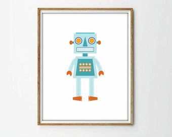 Robot print, nursery, printable, KIDS room decor,outer space, kids wall art, retro robot, baby print,4 SIZES INCLUDED