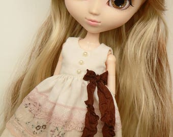 Shabby Brownie dress for pullip blythe azone momoko obitsu and similar dolls