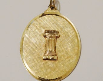 1950's 14k YG Roman Column W/Seed Pearl Textured Medallion F.J.G. Signed Pendant.