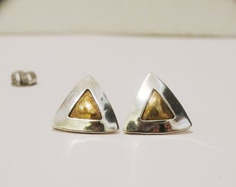 Sterling Silver Jeep Collings Designer Signed Pyramid Earrings.