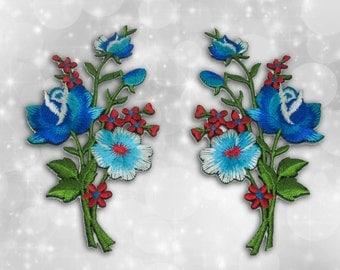 "Flower Iron on Patch (L1), Flower Embroidered Applique Patch, Dress Decoration Appliques-Size 2 1/4""(W)x4 1/2""(H)"