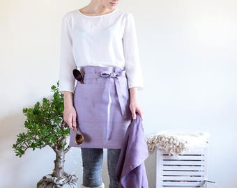 Lilac waist apron with pockets will be perfect hostess gift bridal shower
