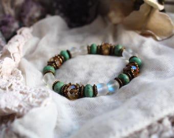 Reiki Bracelet, Meditation Bracelet, Angel Aura Quartz, Protection Bracelet, Crystal Bracelet, Gemstone Bracelet, Yoga Bracelet, Vegan