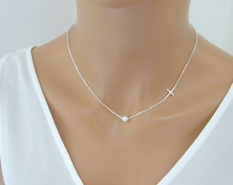 Sideways Cross Necklace with  pearl, Sterling silver Baptism necklace, Bridesmaid Necklace