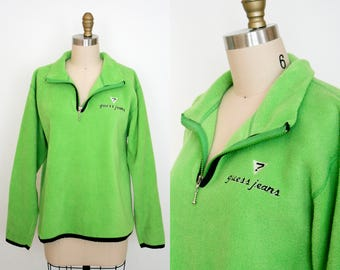 Vintage 90's Guess Jeans Sweater - Lime Green - Zipper Front - Fleece Pullover - Long Sleeve - Medium - Fuzzy - 90's - Neon Green