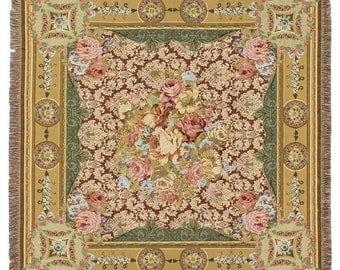 Chambord Throw Blanket - French Decor Throw Blanket - 56x56 Belgian Tapestry Throw -  Floral Throw Blanket - Flower Blanket - TT-750