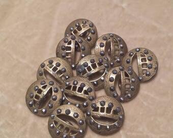11 Steel Cut, Brass Buttons