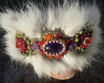 Amethyst Cuff Bracelet, embroidered, fur jewelry: my Holi