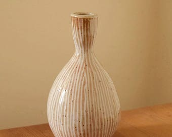 Pottery Bud Vase with Slip Inlay by Fire Garden Pottery. Shino glaze. Cone 10 reduction firing.