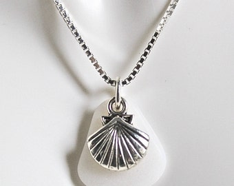Sea glass jewelry  - beach wedding necklace -  white Sea glass necklace - seaglass necklace - beach wedding - charm necklace -