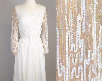 70s Boho Glamour Dress // Vintage 1970s Disco, Cream White Sequins,  Party Dress, Retro Bridesmaid, Women Size Small