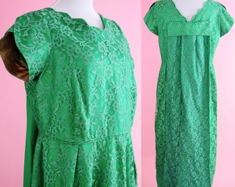 Styled By Margarets Portland, Vintage 50s Evening Gown // 1950s, Emerald Green, 60s Lace Cocktail Party, Plus Size, Women Size Large, XL