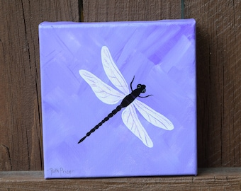 Original Handpainted Dragonfly on a purple and lavender 6x6 Canvas