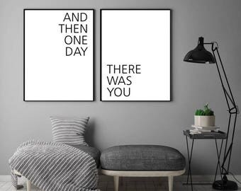 And Then One Day There Was You (Double Print) Wall Art, Art Print, Typography Poster, Literary Quote, Scandinavian Art, Minimalist Prints