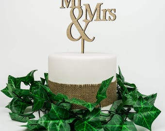 Wooden Cake Topper - Mr and Mrs