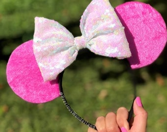 Pink velour Mouse Ears with opal bow