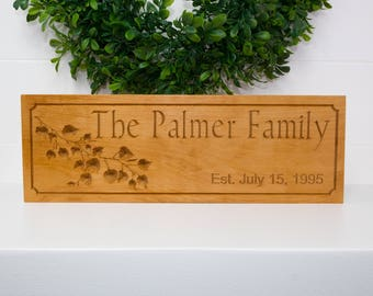 Established Sign w/ Carved Aspen Leaves on Beech Wood - Custom CNC Sign - Wood Sign - Personalized Gift Home Decor
