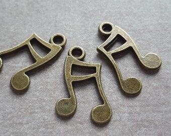 Charm pendant music music, notes, Metal bronze - 15 x 11 mm