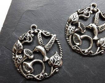 Big pendant bird and flower, silver, 33 x 30 mm round pendant