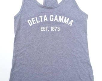 Delta Gamma Est 1873 Sorority Tank Top