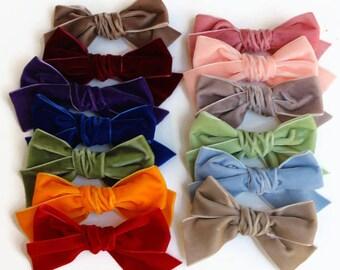 Velvet Hair Bow, Handtied Velvet Bow, Handtied Bow, Schoolgirl Bow, Bows for Girls, Velvet Bow Clip, Velvet Bow Headband