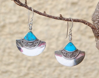 Turquoise earrings and sterling silver vintage