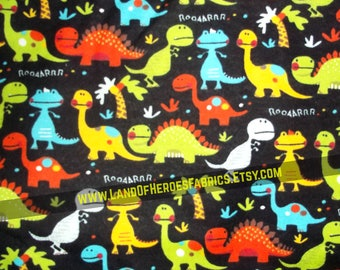 A Very Cute Flannel Fabric Covered with Non-Threatening Dinosaurs - T-Rex, Stegosaurus and Others!  - By the Fat Quarter, Half-Yard or Yard