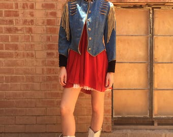 80s / 90s Denim Western Fringe Cuffed Beaded Military Jean Jacket / Utility Coat/ Size S Small