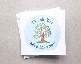 Personalised Watercolour Tree Teacher Thank You Card, Pretty Thank You Card, Teacher Card, Thank You Card, Thank You Teacher Card, Tree Card