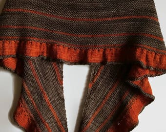 Brown & Orange Hand Knit Shawl