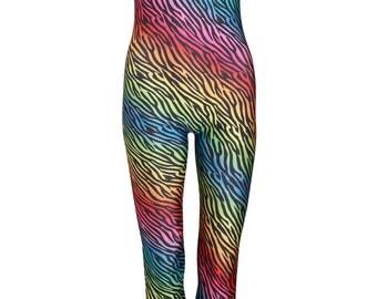 ZEBRA RAINBOW UNITARD catsuit jumpsuit romper top womens ladies top tumblr hipster grunge retro vtg indie boho festival animal print leopard