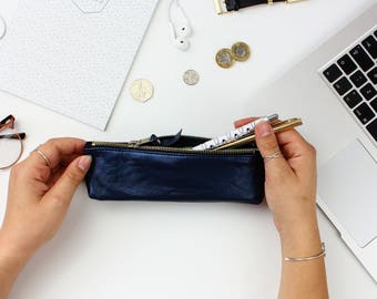 Navy Leather Pencil Case // Back To School // Pencil Pouch Gift // Leather Pen Case // Leather Case // Gift For Her // Pencil Pouch