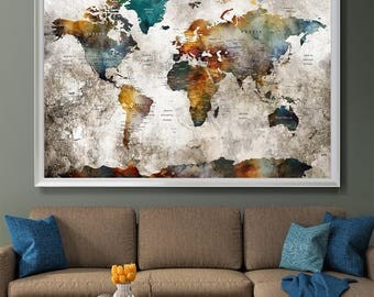 Large Wall Art Push Pin World Map, Push Pin, World Map, Wall Art Poster, Push Pin Map, Watercolor Wall Art, Pushpin World Map Print (L132)
