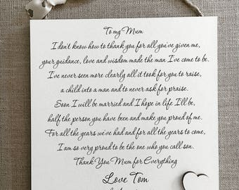 Mother of The Groom Wedding Shabby Chic Sign Wooden Plaque Gift Memories W117