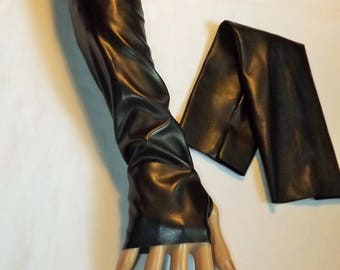Long mittens black faux leather stretchy Sanlivine