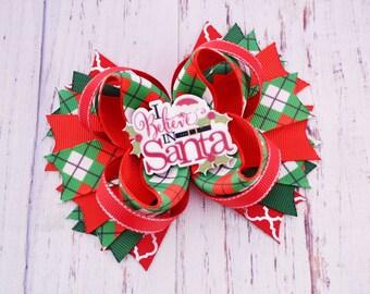 Santa hair bow Christmas hair bows Christmas hairbow Christmas decor Christmas baby girl Christmas headband baby Holiday hair bow adult baby