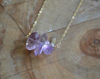 Faceted Ametrine Necklace // Amethyst and Citrine // Gold Fill // Healing Energy // Procrastination // Mental Clarity // Staying on Task