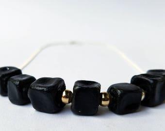 Ceramic Jewelry Necklace OBSIDIAN GRID