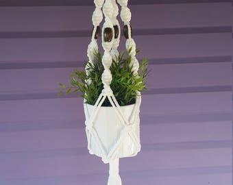 Macrame plant hanger White
