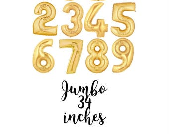 Gold Jumbo Number Balloons ~ Gold Balloon Numbers ~ Age Gold Balloons ~ Helium or Air Fill Balloon ~ 40 Inch Jumbo Balloon