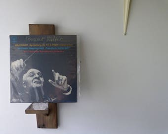 Vinyl Record Display - Wall mount style- Recycled Barnwood. Chippy Paint and Pinewood