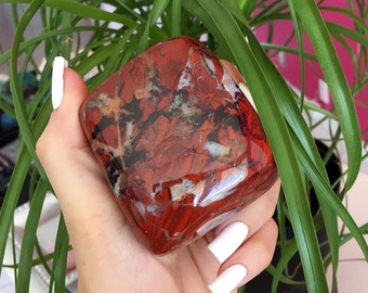 Red Jasper Palm Stone/ Healing Crystal infused w/ Reiki