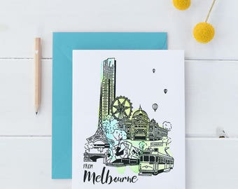 Melbourne hand painted & screen printed greeting card, celebration card, Melbourne postcard