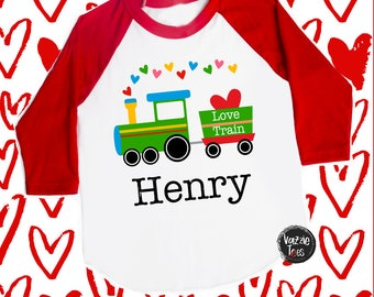 Love Train Personalized Shirt - Train Shirts - Valentine Train - Cute Valentine Shirts - Boys' Shirts - Holiday Shirts - Love Express