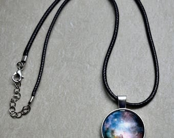 Colorful Nebula - Glass Cabochon Pendant / Outer Space / Galaxy / Stars / Nebula / Gifts for Him or Her