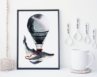 Whale wall art, hot air balloon art print, watercolor poster, nature print, painting, home wall decor, apartment wall art, wall hanging