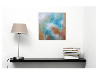 Small Abstract Painting Square Orange White Blue Original Painting Modern Art JDArtiste