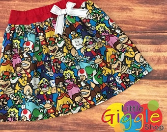Mario Brothers Birthday, Mario Brothers Skirt, Super Mario Brothers, Mario Brothers Party, Mario Kart, Princess Peach, Mario Luigi, Handmade