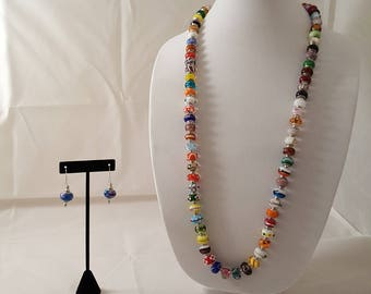 Murano Glass Bead Long Necklace- Glass Bead Necklace- Murano Glass Jewelry- Colorful Necklace- Multi Color Necklace- Glass Bead Jewelry Set